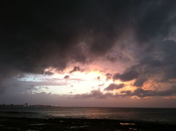 Storm on the sea Sea Horizon Over Water Beauty In Nature Scenics Sky Nature Sunset Cloud - Sky Tranquil Scene Water Tranquility Beach Silhouette Idyllic No People Outdoors Awe Storm Cloud Horizon Day
