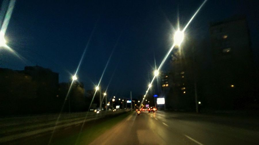 Travelling In The Night Share With Me Road Car Illuminated Light Beam Sky Street Light