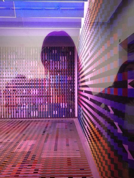 Pompidou Center City Multi Colored Pixelated Illuminated Purple Architecture Built Structure