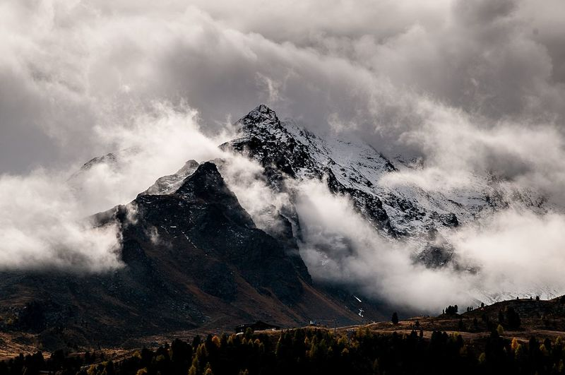 Maseben, Langtaufers Vinschgau Italy Snowcapped Mountain Clouds Mountain Range Autumn Cloud - Sky Sky Beauty In Nature Nature Scenics - Nature Plant Landscape Power In Nature