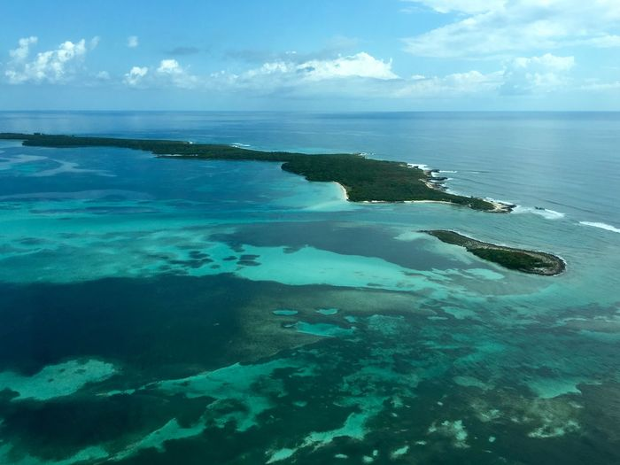 Aerial view of island in caribbean sea