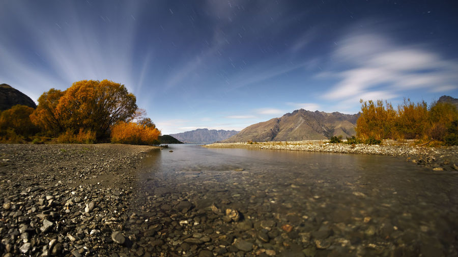 Lake Wakatipu under moonlight Astronomy Beauty In Nature Galaxy Landscape Mountain Nature Night No People Outdoors Premiere Scenics Sky Star - Space Travel Tree Water