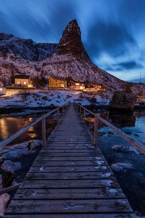 Gandalfs hut Blue Hour Houses Norway Reine Winter Bridge Clouds Landscape Lofoten Long Exposure Mountain Night Snow