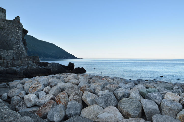 Scenic view of rocks on beach against clear sky