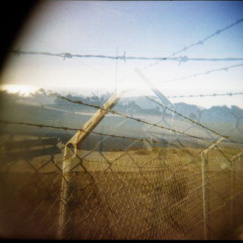 No People Outdoor Photography Holga Photography Holga120 Light And Shadow Multiple Exposures Chainlink Fence Barbed Wire Nature