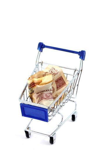 Sofia, Bulgaria Bulgaria Close-up Consumerism Currency Finance Food Lev No People Savings Shopping Cart Studio Shot White Background