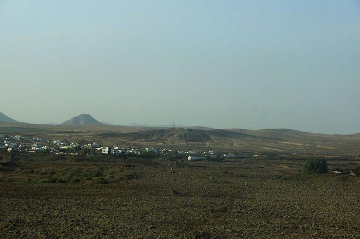 Clear Sky Fuerteventura Mountain Nature Scenic Lookout Tree Village Volcano