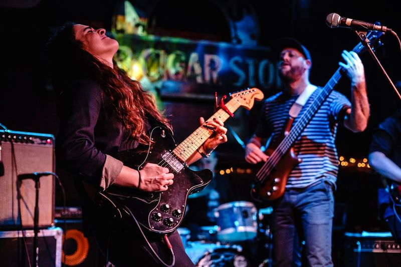 Childspeak. #sony A7ii Female Performer Stage Woman Guitar Fender Telecaster Rock Group Musician Performance Group Jazz Music Plucking An Instrument Popular Music Concert Electric Guitar Guitar Musical Instrument Rock Music