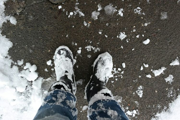 Legs Of Man Standing In Snowy Boots