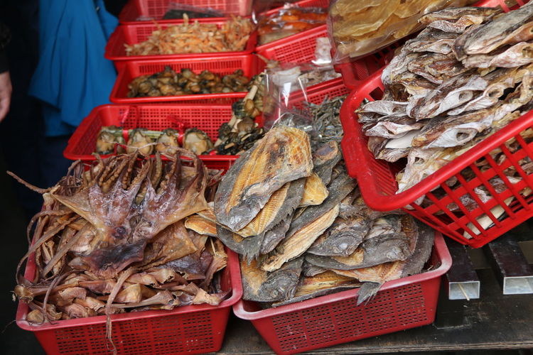 Close-up of dried food for sale in market