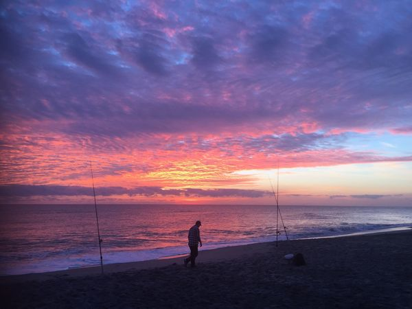Check This Out Fisherman Sunrise_sunsets_aroundworld Its All Good🌞 Check This Out Masterclass Sunrise Silhouette Sunrise Collection Beach Sea Sand Beauty In Nature Nature Shore Horizon Over Water One Person Silhouette Tranquil Scene Leisure Activity Tranquility Real People Scenics Water