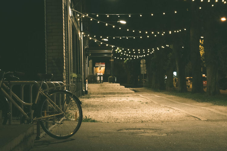 City Architecture No People Outdoors Night Bicycle Land Vehicle