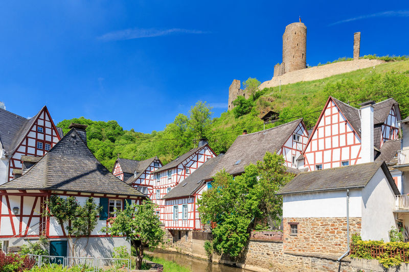 Old town Monreal with the Lion Castle Architecture Blue Building Exterior Built Structure Castle Castle Day Eiffel Elz  Fachwerk History House Koblenz Löwenburg Mayen Nature No People Old Buildings Outdoors Picturesque Sky Town TOWNSCAPE Travel Destinations Wallpaper