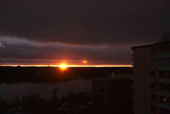 view from the balcony last year. will this winter be as dark? Ulvsunda Bromma Sunset Solna