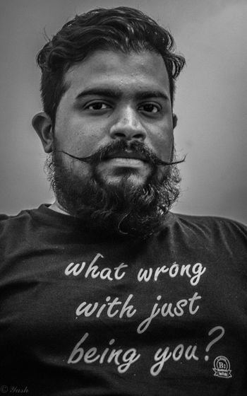"""What is wrong with just being you"" Yashpavanan Nairobi Kenya Inner Power Portrait Looking At Camera Headshot Front View Mid Adult Mid Adult Men Studio Shot Text Beard Close-up Head And Shoulders Written Thoughtful Plain Background Asian  Western Script Stern The Portraitist - 2018 EyeEm Awards"