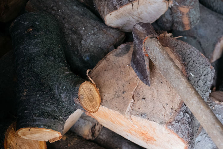 Close-up of firewood