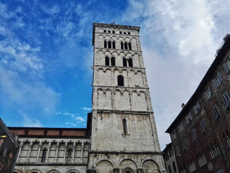 History Architecture Religion Travel Destinations Building Exterior Cloud - Sky Tower Sky Low Angle View Built Structure Clock Tower Blue Place Of Worship Day Outdoors No People City Clock Cityscape Clock Face Lucca Lucca Italy Duomo Torre Lucca Centro