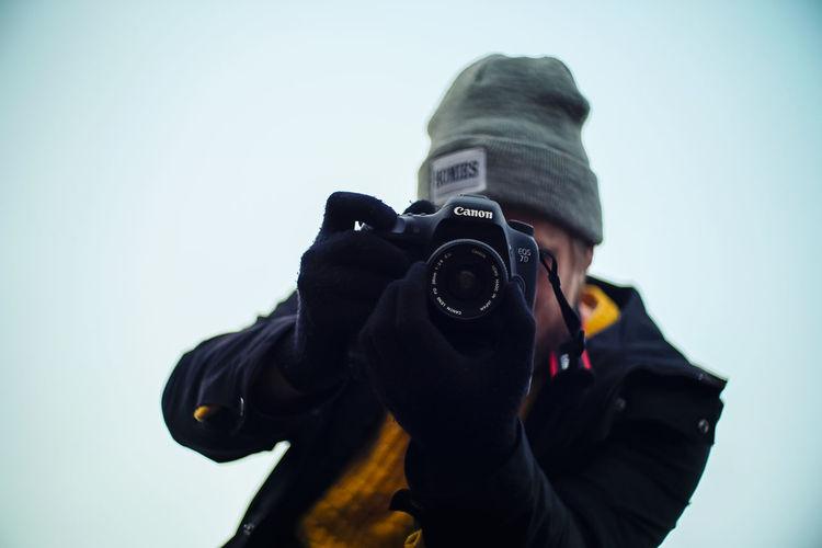 Adult Camera - Photographic Equipment Canon Close-up Color Colors Digital Single-lens Reflex Camera DSLR Fujifilm Human Hand Lens - Eye One Person Photography Themes Sky Xt2