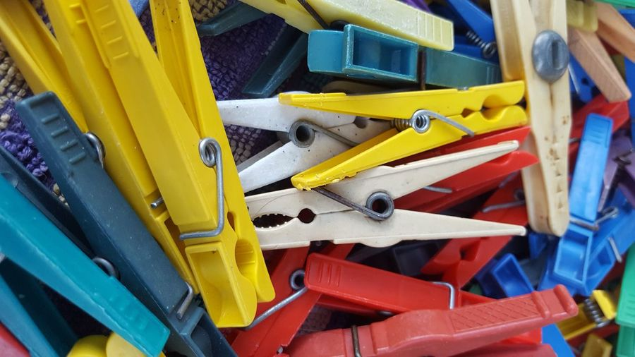 Detail Shot Of Colorful Pegs