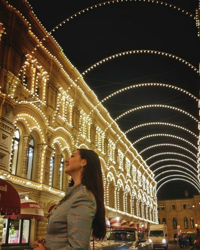 Night Illuminated One Person Adults Only People Arch Architecture Adult Built Structure Only Women One Woman Only Building Exterior City Real People Women Outdoors One Young Woman Only Christmas Market Young Women Young Adult Nature Moscow Moscow City Model EyeEm Selects