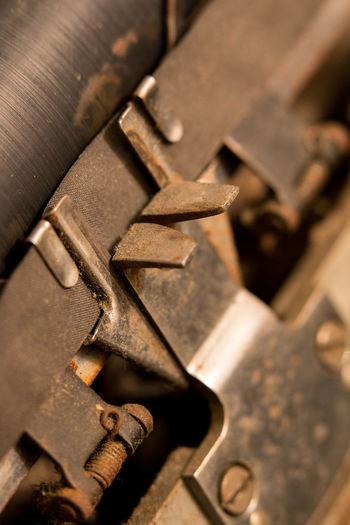 Cropped image of rusty typewriter