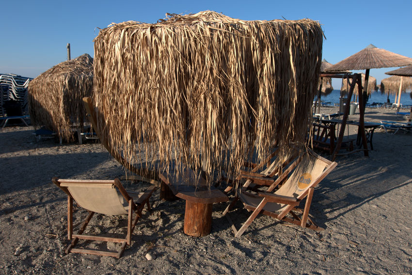 View of a beach bar near the village of Therma, in Samothrace (Samothraki), Greece. Beach Life GREECE ♥♥ Greek Islands Beach Built Structure Day Greece Nature No People Outdoors Samothrace Thatched Roof Wood - Material