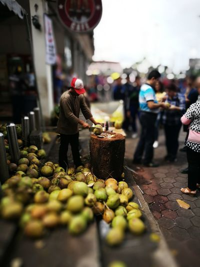 Coconut Coconut Drink Food And Drink Fresh Drink Freshness Market Stall Street Stall Traditional Seller