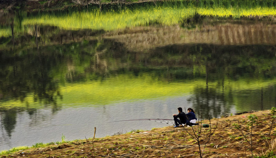 春天 油菜花 野钓 惬意 度假 Water Lake Nature Day Outdoors Beauty In Nature