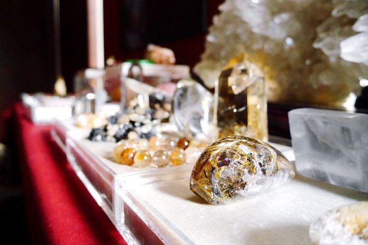 Close-Up Of Various Gems On Table