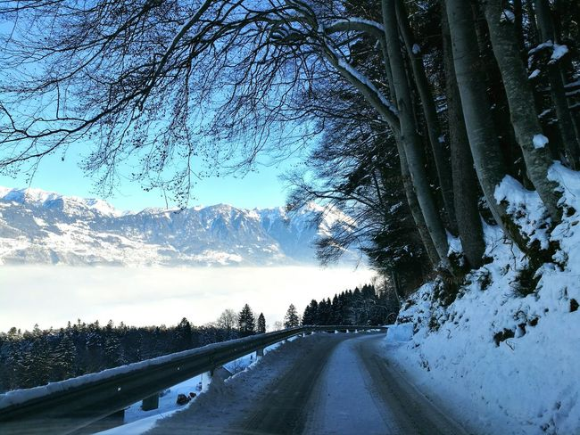 Tree Car Windshield Transportation Land Vehicle Sky Cold Temperature No People Mode Of Transport Nature Day Winter Snow Outdoors Beauty In Nature Blue Clear Sky Winter Mountain Horizontal Swiss Alps Nature Sunset Colourfull Landscape Nature Cloud - Sky Switzerland