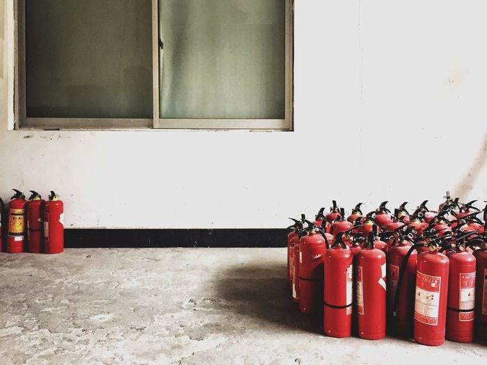 Fire extinguishers in room