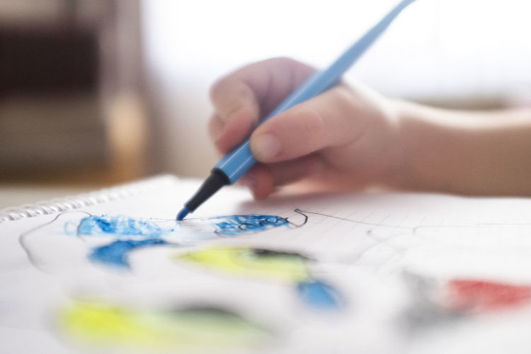 Art And Craft Brush Close-up Creativity Drawing - Activity Finger Hand Holding Human Body Part Human Hand Indoors  Leisure Activity One Person Paint Paintbrush Pen Real People Selective Focus Skill  Watercolor Paints Women