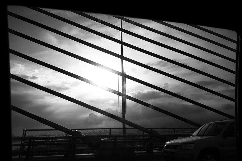 S7. 1.30.17. Edited via Hypocam. Monochrome Photography Monochrome Eyeem Philippines Light And Shadow Geometric Shape Philippines Mobile Photography Thru The Window Bridge Cebu City 032igers 032