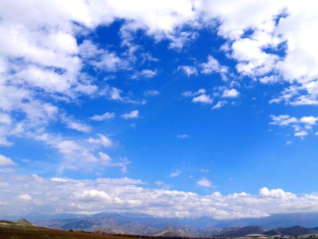 blue skies Mountain Blue Sky Cloud - Sky Mountain Range Cumulus Cloud Fluffy Heaven Tranquil Scene Calm Cloudscape Cirrus