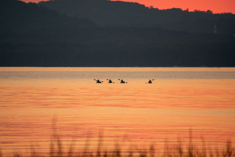 Silhouette birds on sea against orange sky