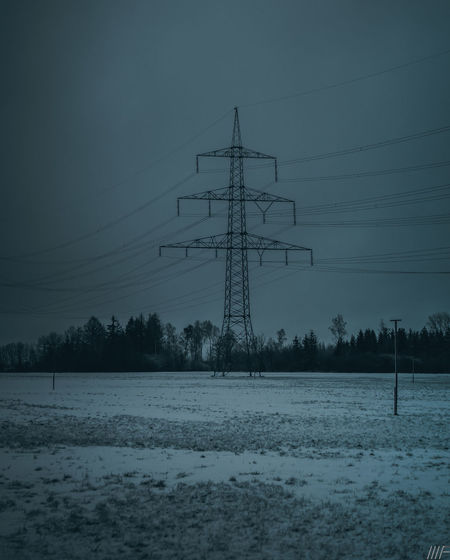 Snow Winter Cold Temperature Electricity Pylon Electricity  Technology Nature Scenics - Nature Field Sky Beauty In Nature Land Environment Fuel And Power Generation Power Line  Cable No People Covering Connection Power Supply Outdoors