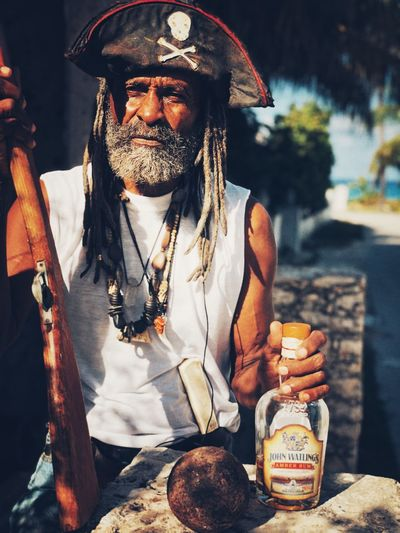 Pirate of the Caribbean One Person Real People Men Front View Food And Drink Facial Hair Beard Focus On Foreground Adult Mature Men Mustache Day Outdoors Standing Lifestyles Holding Waist Up Bimini Pirate Portrait