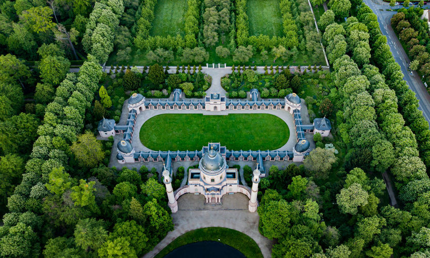 High angle view of formal garden