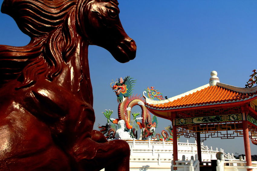 Golden Dragon Statue. Architecture Clear Sky Cultures Day Dragon Statue No People Outdoors Place Of Worship Sculpture Sky Statue