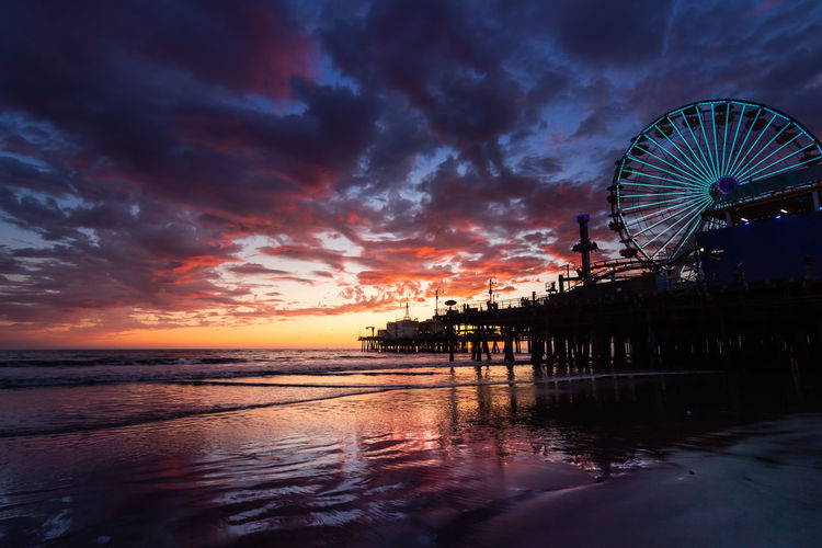 Outdoors Landscape Sunset Beach Pier Reflection Cloud - Sky Wheel Clouds And Sky Burning Sky Water Sky Sea No People Nature