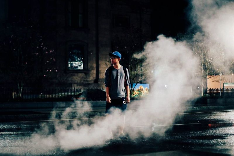 Vapor Steam City Night Life City Life Pothole Portrait Check This Out Street Mood Smoke Contrast