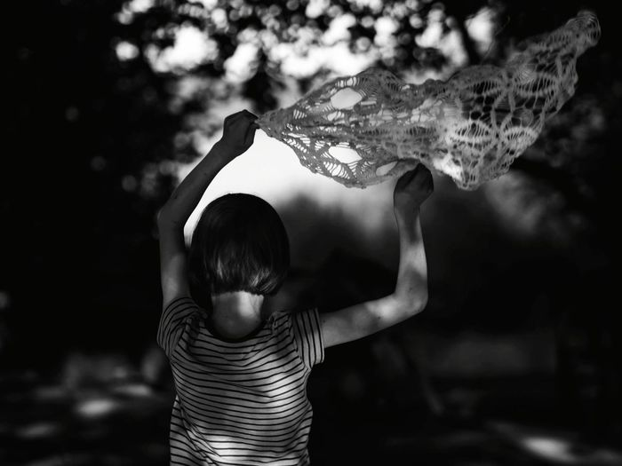Back Light And Shadow Summertime Knitting Crochet Leisure Activity Blackandwhite Playing Childhood Kid Boy Tree Arms Raised Hand Raised Monochrome Children Excitement Excitement