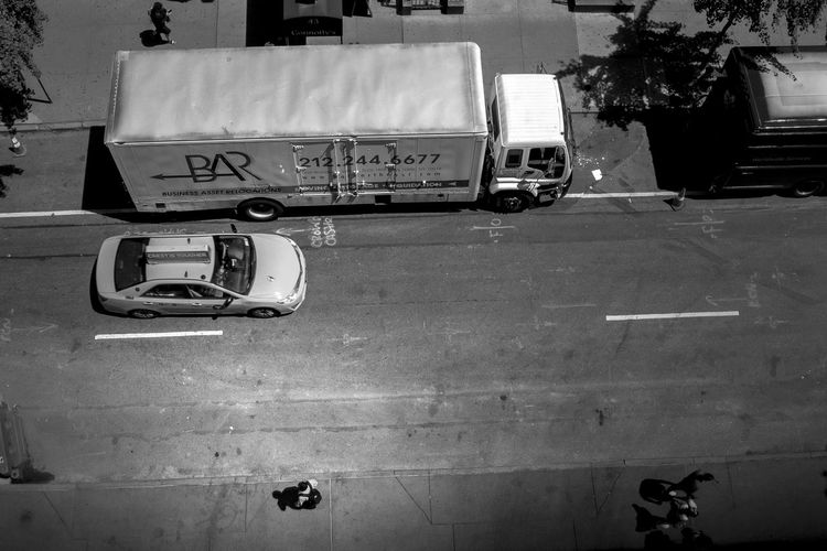 Black & White From Up Mode Of Transport Perspective Street Taxi Transportation Truck View