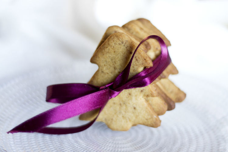 Christmas Food Chritmas Cookies Christmas Tree Close-up Color Food Food And Drink Freshness Indoors  Purple Studio Shot White Background