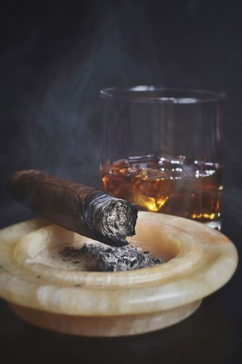 Cigar And Ashtray With Whiskey Glass