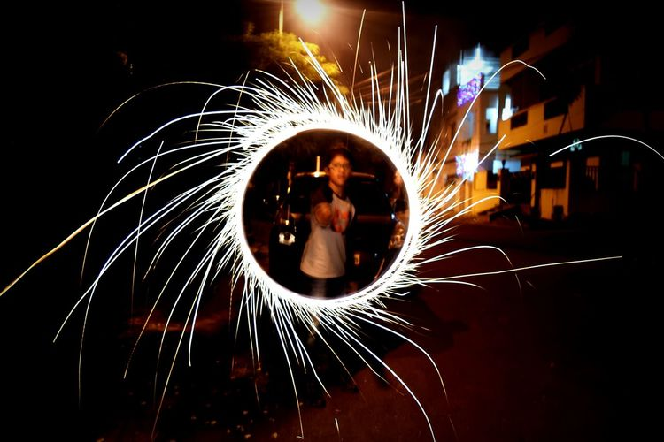 Streetphotography Slow Shutter Speed Motion Long Exposure Outdoors Firework Display Full Length Wire Wool Diwali Street Photography