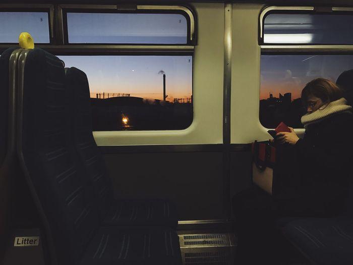 Window Real People Sitting Illuminated One Person Night Sunset Sunset_collection Train