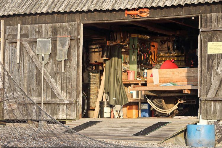 fisherman hut Fisherman Hut Architecture Day Built Structure Building Exterior Wood - Material No People Outdoors Building Sunlight Art And Craft House Seat Door Nature Entrance Fishing Fishing Net Equipment Thorsminde Denmark