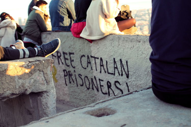 Barcelona Catalonia Catalonia Is Not Spain Democracy Graffiti Bunkers Del Carmel Communication Community Outreach Day Message Outdoors People Politics And Government Protest Protestor Text