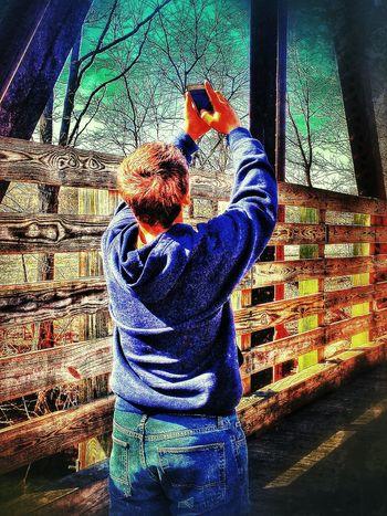 EyeEm Best Shots - HDR Taking Photos Of People Taking Photos My Boy ❤ Standing On A Bridge